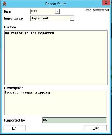 Report fault form